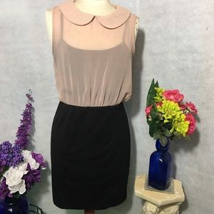 Dots Dresses - CUTE COLLAR ON PALE PINK & BLACK DRESS